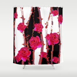 MODERN ART PINK ROSE BLACK & WHITE ART Shower Curtain