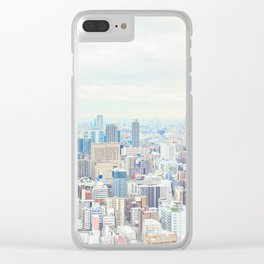 modern city skyline aerial view under sunrise and blue sky in Osaka, Japan Clear iPhone Case