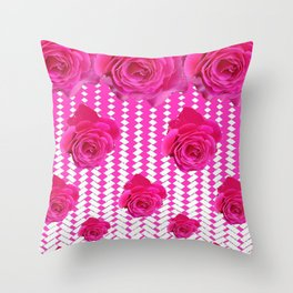 ABSTRACTED CERISE PINK ROSES GARDEN ART Throw Pillow