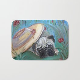Sleepy Garden Pug Bath Mat