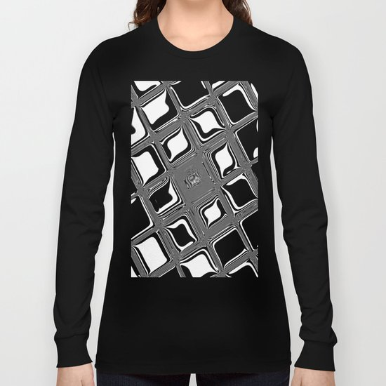 Black and white abstract design with fancy squared patterns on grey Long Sleeve T-shirt