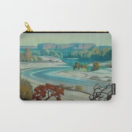 'River Scene at Day Break' desert canyon landscape painting by J.H. Pierneef Carry-All Pouch