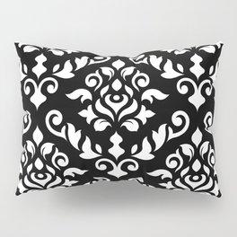 Damask Baroque Pattern White on Black Pillow Sham