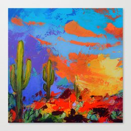 Saguaros Land Sunset Canvas Print