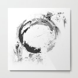 Black abstract circle artprint black and white illustration Metal Print
