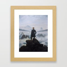 Wanderer above the Sea of Fog Painting by Caspar David Friedrich Framed Art Print