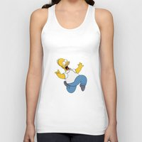 simpson Tank Tops featuring Crazy Homer Simpson by Yuliya L