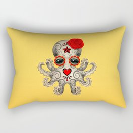 Red Day of the Dead Sugar Skull Baby Octopus Rectangular Pillow