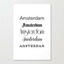 Amsterdam City Quote Sign, Calligraphy Text Art, World City Typography Print, Wall Art Decor Canvas Print