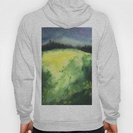 Watercolor landscape yellow field Hoody