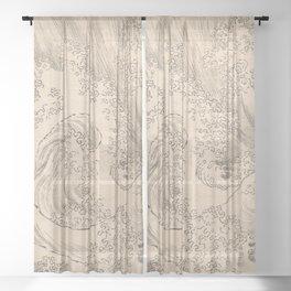 Wave by Katsushika Hokusai 1760–1849, Japanese Sheer Curtain