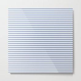 Mattress Ticking Narrow Horizontal Stripe in Dark Blue and White Metal Print