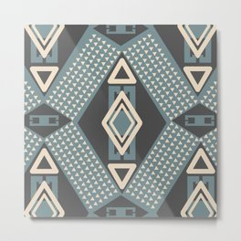 Little and big geometric shapes in gray Metal Print