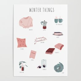 Cozy winter things Poster