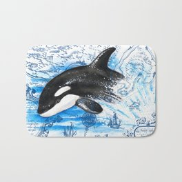 Breaching Baby Orca Watercolor Blue vintage Map Bath Mat