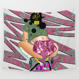 sK8 or Die - Cheeky Roller Derby Girl Digital Illustration Wall Tapestry