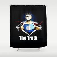 true blood Shower Curtains featuring True by Tony Vazquez