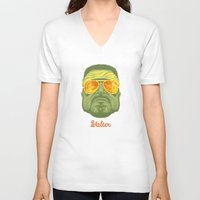 lebowski V-neck T-shirts featuring The Lebowski Series: Walter by Bubblegun