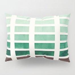 Marin Green Minimalist Mid Century Grid Pattern Staggered Square Matrix Watercolor Painting Pillow Sham