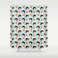 amelie Shower Curtains featuring Amelie by Juice for Breakfast