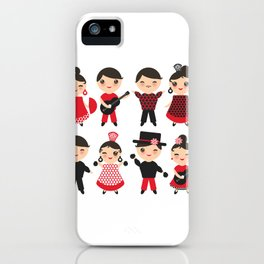 Spanish flamenco dancer. Kawaii cute face with pink cheeks and winking eyes. Gipsy iPhone Case