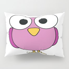 GOOGLEY EYED PINK BIRD Abstract Art Pillow Sham