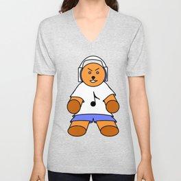 TEDDY BEAR LOVE MUSIC Unisex V-Neck