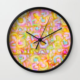 Rainbow Pastel Abstract Typography Watercolor Painting Wall Clock