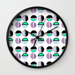 Geometric hand painted black lilac green abstract polka dots Wall Clock