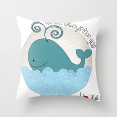 I {❤} Whale Throw Pillow