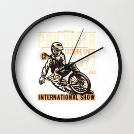 Pro Rider International Show - Motocross, Motobike, Biker Stunts T Shirt Wall Clock