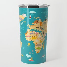 Animal map for kid. World vector poster Travel Mug