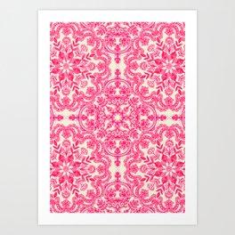Hot Pink & Soft Cream Folk Art Pattern Kunstdrucke