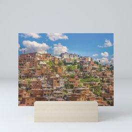 Favelas at Hill, Medellin, Colombia Mini Art Print