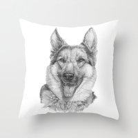 german Throw Pillows featuring German shephard by Doggyshop
