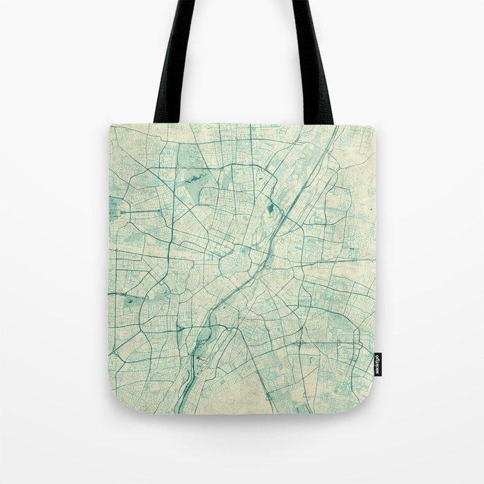 Munich Map Blue Vintage Tote Bag