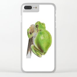 Plump Green Tree Frog Clear iPhone Case