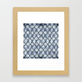 Braided Diamond Indigo Blue on Lunar Gray Framed Art Print
