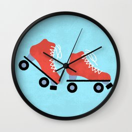 Red Roller Skates Wall Clock