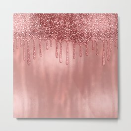 Dripping in Rose Gold Glitter Metal Print