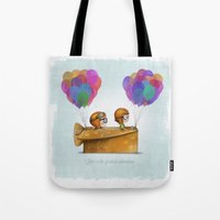 pixar Tote Bags featuring UP Pixar — Love is the greatest adventure  by Ciara Ni Dhuinn