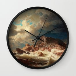 Marcus Larson - Stormy Sea With Ship Wreck Wall Clock