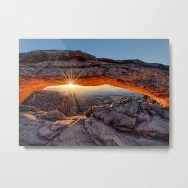 Mesa Arch Sunburst Canyonlands National Park.  by Lena Owens Metal Print