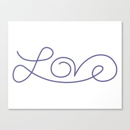Love calligraphy print - Smokey purple Canvas Print