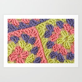 Bright Colored Granny Squares Art Print
