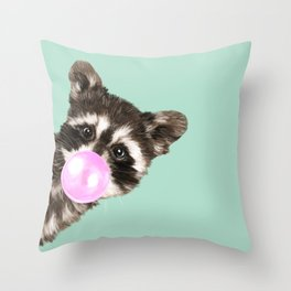 Bubble Gum Baby Raccoon Throw Pillow