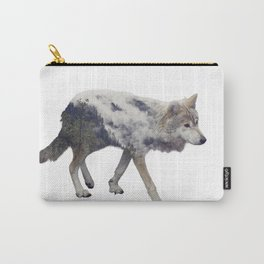 Double exposure of wolf and pine forest on white background Carry-All Pouch