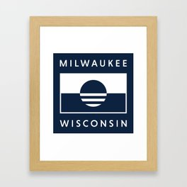 Milwaukee Wisconsin - Navy - People's Flag of Milwaukee Framed Art Print