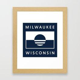 Milwaukee Wisconsin - Navy - People's Flag of Milwaukee Framed Art Print