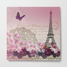 Vintage Paris Butterflies & Flowers Abstract Metal Print